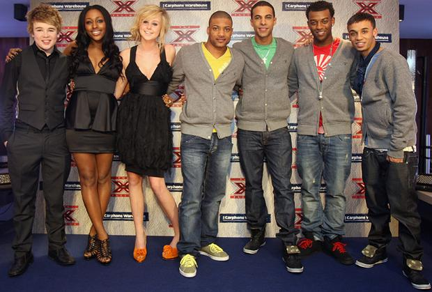 X Factor stars (L-R) Eoghan Quigg, Alexandra Burke, Diana Vickers, and the group JLS