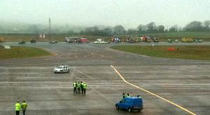 Scene of  the crash at Cork Airport, picture taken on a mobile phone from the airport terminal