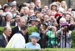 Queen Elizabeth II and the Duke of Edinburgh leave St. Macartin's Cathedral in Enniskillen, County Fermanagh, during a two-day visit to Northern Ireland as part of the Diamond Jubilee tour.