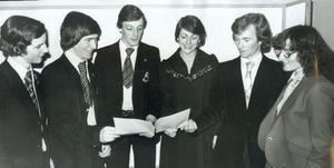 Some of the principal award winners at the annual prize distribution of Grosvenor High School. B. Magrath (left), N. S. J. Foster, N. D. McVittie, Jacqueline McKay, A. G. Barr and Rosemary McKibben, 1978.