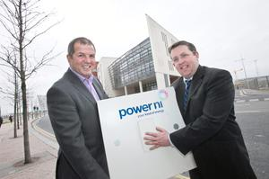 Power NI & Belfast Met celebrate contract success. Pictured (left to right) Peter Kane, Estates and Facilities Manager at Belfast Met and Alan Egner, Power NI's Business Sales and Marketing Manager
