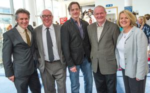 At last night's European Premiere of Whole Lotta Sole at the Waterfront Hall is the film's leading star, Brendan Fraser (centre) with Oscar winning Director, Terry George and Belfast Film Festival's chairman, Brian Henry Martin (to his left) along with Deputy First Minister, Martin McGuinness and the Festival's Director, Michele Devlin (to his right).