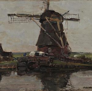The oil painting by Dutch 20th century master Piet Mondrian stolen from the National Art Gallery in Athens (AP)