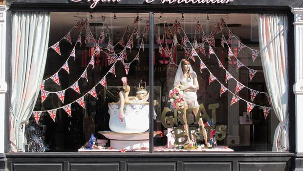LONDON, ENGLAND - APRIL 29:  A Royal Wedding window display inside an Agent Provocateur shop prior to the Royal Wedding of Prince William to Catherine Middleton at Westminster Abbey on April 29, 2011 in London, England. The marriage of the second in line to the British throne is to be led by the Archbishop of Canterbury and will be attended by 1900 guests, including foreign Royal family members and heads of state. Thousands of well-wishers from around the world have also flocked to London to witness the spectacle and pageantry of the Royal Wedding.  (Photo by Adrian Murrell/Getty Images)