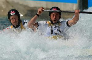 Eric Hurd and Jeff Larimer of the United States compete during the Men's Canoe Double (C2) Slalom heats on Day 3 of the London 2012 Olympic Games