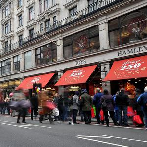 Oxford Street and Regent Street were closed to traffic to attract Christmas shoppers