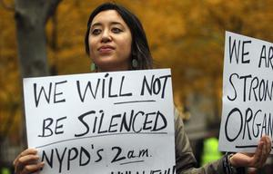 NEW YORK, NY - NOVEMBER 15:  Protester Leina Bocar stands outside Zuccotti Park after police removed the Occupy Wall Street protesters from the park early in the morning on November 15, 2011 in New York City. Hundreds of protesters, who rallied against inequality in America, have slept in tents and under tarps since September 17 in Zuccotti Park, which has since become the epicenter of the global Occupy movement. The raid in New York City follows recent similar moves in Oakland, California, and Portland, Oregon.  (Photo by Mario Tama/Getty Images)