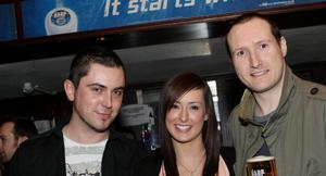 Garry Toner, Jenny Wyatt and AJ Fahy at the Harp Ice Cold Big Gig in the Spring and Airbrake on 19th March
