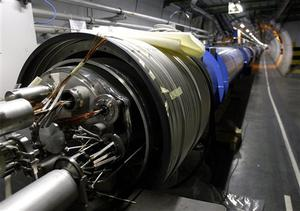 View of the LHC (large hadron collider) in its tunnel at CERN near Geneva
