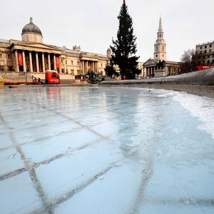 The fountains in London's Trafalgar Square were frozen as the cold weather gripped the capital