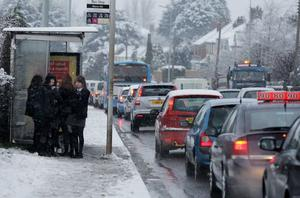 Traffic delays on the Saintfield Road outside Carryduff February 2009