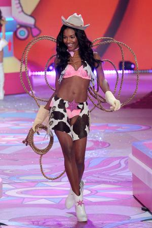 NEW YORK, NY - NOVEMBER 07:  Model Sharam Diniz walks the runway during the Victoria's Secret 2012 Fashion Show on November 7, 2012 in New York City.  (Photo by Bryan Bedder/Getty Images for SWAROVSKI ELEMENTS)