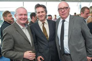 At the European Premiere of his new film Whole Lotta Sole, Terry George (right) with the Deputy First Minister Martin McGuinness and the Chairman of the Belfast Film Festival, Brian Henry Martin.