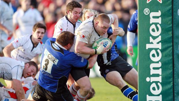 Ulster prop Tom Court carries the ball the last time they took on Bath