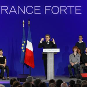 Incumbent French president Nicolas Sarkozy pictured during an election campaign meeting in Cernay, eastern France (AP)