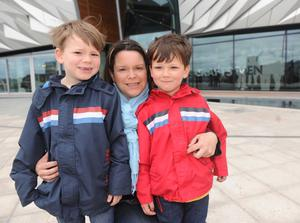 itanic Building Belfast 2nd Day Open - 1 April 2012 Aideen O'Shaughnessy with her children Diarmuid and Niall