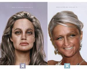 A South American beauty clinic called Xiomara Coronado Beauty Center launched this campaign featuring digitally enhanced images of Angelina Jolie and Paris Hilton, alleging that they'd look that wrinkly in years to come if they neglected their skincare routine.
