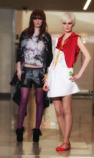 University of Ulster  Fashion Show  sponsored by Victoria Square Dearbhla Hogan and Sarah McDonald models garments  by fashion students Krystyna Scullion and Rachal Shaw.