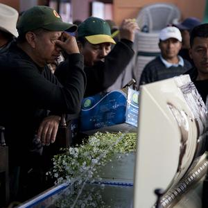 A relative weeps in front of an open casket containing the remains of a victim who died in clashes with security forces in Totonicapan, Guatemala (AP)
