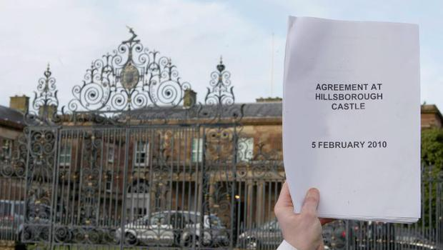 A copy of the deal on the devolution of policing and justice powers which the DUP and Sinn Fein have agreed upon at Hillsborough Castle.
