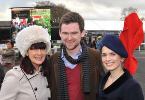 Enjoying a day out at Down Royal Racecourse -  Veronica Walsh from Navan, Connor McGary from Eivhilin  and Mhil Fhearrahigh from Kildare