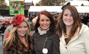 Enjoying a day out at Down Royal Racecourse -  Jill Davidson,  Kirsten McDonnald and Rachel Ferris from Greenisland.