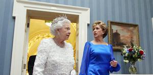 The Queen   and  President Mary McAleese arrive for a State Dinner at Dublin Castle, on May 18, 2011 in Dublin, Ireland.