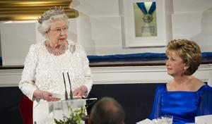 The Queen makes a speech as she attends the State Dinner on the second day of her State Visit, at Dublin Castle, on May 18, 2011