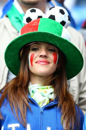 POZNAN, POLAND - JUNE 14:  An Italy fan enjoys the atmosphere during the UEFA EURO 2012 group C match between Italy and Croatia at The Municipal Stadium on June 14, 2012 in Poznan, Poland.  (Photo by Clive Mason/Getty Images)