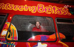 Belfast Duck Tours director George Grimley, who has taken over the company, in one of the damaged buses