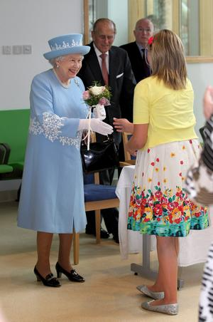 ENNISKILLEN, NORTHERN IRELAND - JUNE 26:  Queen Elizabeth II and  Prince Philip, Duke Of Edinburgh visit the South Western Acute Hospital on June 26, 2012 in Enniskillen, Northern Ireland. The Queen and Duke of Edinburgh are on a Diamond Jubilee visit to Northern Ireland.  (Photo by Chris Jackson/Getty Images)