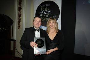 Press Eye - Belfast - Northern Ireland - Wednesday 16th November 2011 - Picture by Kelvin Boyes / Press Eye.Pubs of Ulster's Pub of the Year Awards 2011 at Belfast City Hall.Best Neighbourhood PubSorcha Wolsey, chair of Pubs of Ulster with Dermot Friel from Rafters and Friel's