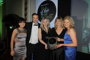 Press Eye - Belfast - Northern Ireland - Wednesday 16th November 2011 - Picture by Kelvin Boyes / Press Eye.Pubs of Ulster's Pub of the Year Awards 2011 at Belfast City Hall.Sorcha Wolsey, chair of Pubs of Ulster, presents the team from the Wild Duck Inn with the Best Family Friendly Pub award