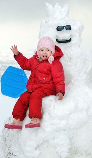 Becca Lilly (3) from Newtownabbey enjoying the February snow
