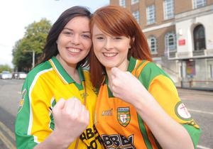 All Ireland Final - Donegal v Mayo Fans Pictures - 23rd September 2012Round - Copyright Presseye.comMandatory Credit Declan Roughan / Presseye(L-R) Sarah Mc Donald, from Armagh and Naimh Brittan from Ballybofey.Donegall Fans watch the match at the Botanic Inn Belfast- (Chris VoxPop)