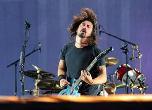 Foo Fighters' singer Dave Grohl performs at Tennants Vital in Boucher Playing Fields last night