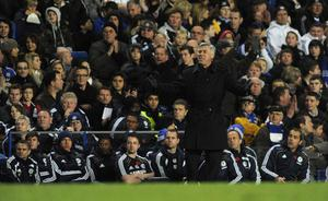 Chelsea manager Carlo Ancelotti shows his frustration on the touchline during the Barclays Premier League match at Stamford Bridge, London. PRESS ASSOCIATION Photo. Picture date: Sunday November 14, 2010. See PA Story SOCCER Chelsea. Photo credit should read: Rebecca Naden/PA Wire. RESTRICTIONS: Use subject to restrictions. Editorial print use only except with prior written approval. New media use requires licence from Football DataCo Ltd. Call +44 (0)1158 447447 or see www.pressassociation.com/images/restrictions for full restrictions.