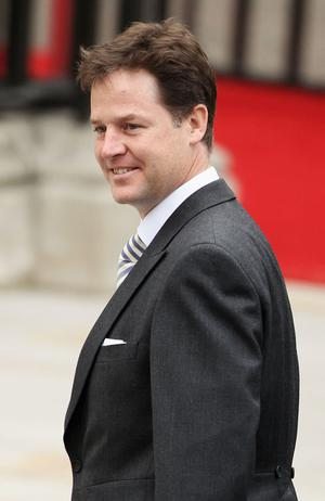 LONDON, ENGLAND - APRIL 29:  Deputy Prime Minister Nick Clegg arrives to attend the Royal Wedding of Prince William to Catherine Middleton at Westminster Abbey on April 29, 2011 in London, England. The marriage of the second in line to the British throne is to be led by the Archbishop of Canterbury and will be attended by 1900 guests, including foreign Royal family members and heads of state. Thousands of well-wishers from around the world have also flocked to London to witness the spectacle and pageantry of the Royal Wedding.  (Photo by Dan Kitwood/Getty Images)