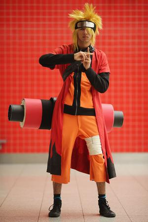 LONDON, ENGLAND - OCTOBER 26:  Louis Groves, 18, Lewisham poses as Naruto ahead of the MCM London Comic Con Expo at ExCel on October 26, 2012 in London, England. Visitors to the Comic Convention are encouraged to wear a costume of their favourite comic character and flock to the Expo to gather all the latest news in the world of comics, manga, anime, film, cosplay, games and cult fiction.  (Photo by Dan Kitwood/Getty Images)