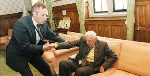 Ian Paisley  with his son Ian Paisley Jnr  after his father took his seat in the House of Lords today as Lord Bannside.