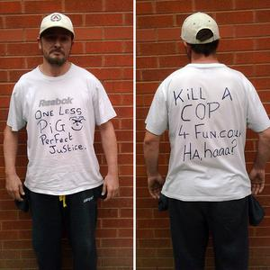 Barry Thew wore an anti-police T-shirt in public just hours after the killings of two police officers in Manchester