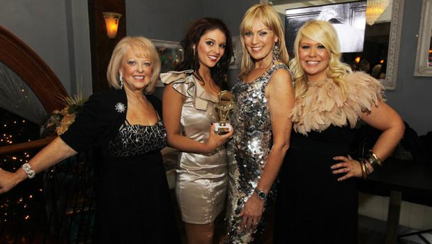 Promotional Model of the Year Jacqueline Gracey with Valerie Kirkpatrick, Alison Campbell and Joleen McKee at the Alison Campbell Modelling Agency Christmas Party at Cafe Vaudeville. Picture by Kelvin Boyes / PressEye.com