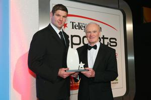 Team of the Year: Ulster Rugby Ulster Coach Mark Anscombe and Captain Johann Muller receives their award from Michael Gibson