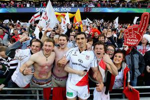 Ulster's Ruan Pienaar celebrates with fans after the game