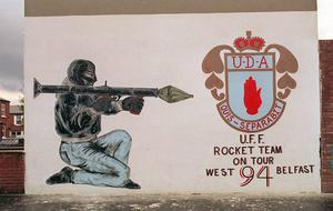 UDA wall mural in the Shankill Road area.8/9/09