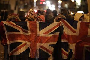 Loyalists protesting around the village area in south Belfast December 17 2012
