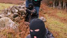 File pictures of republican  dissident group, the Real IRA  at a 'training camp' in the border counties of Northern Ireland taken in January 2008