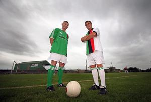 Johnny Jamison (right, with fellow Oval legend Jim Cleary) is desperately hoping his old club Glentoran can find a way out of its current crisis