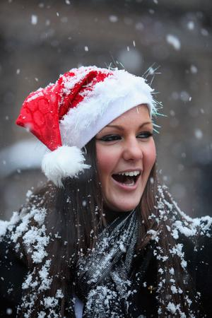 People enjoy the snowy weather conditions in Glasgow on December 22, 2009 in Glasgow, Scotland