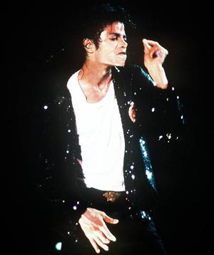 Singer Michael Jackson on stage in 1987.